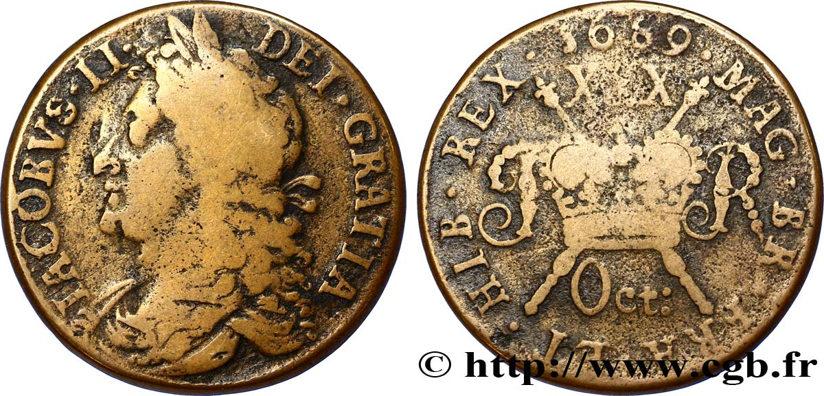 IRLANDE 1/2 Crown Jacques II 1689  TB