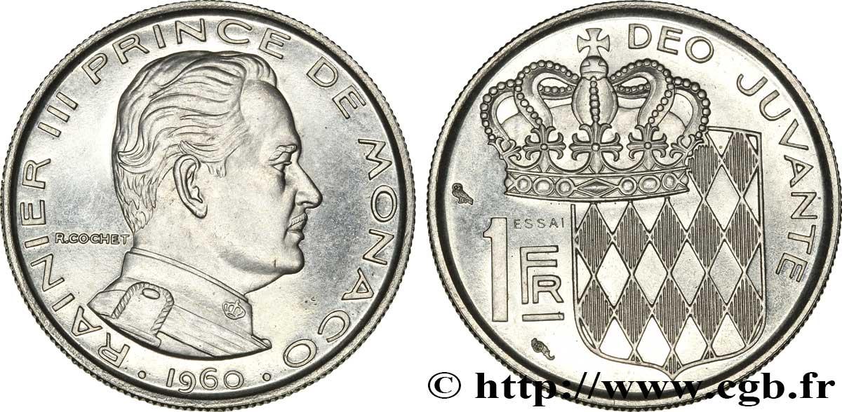 Monaco Essai De 1 Franc Rainier Iii 1960 Paris Fwo 322738 World Coins