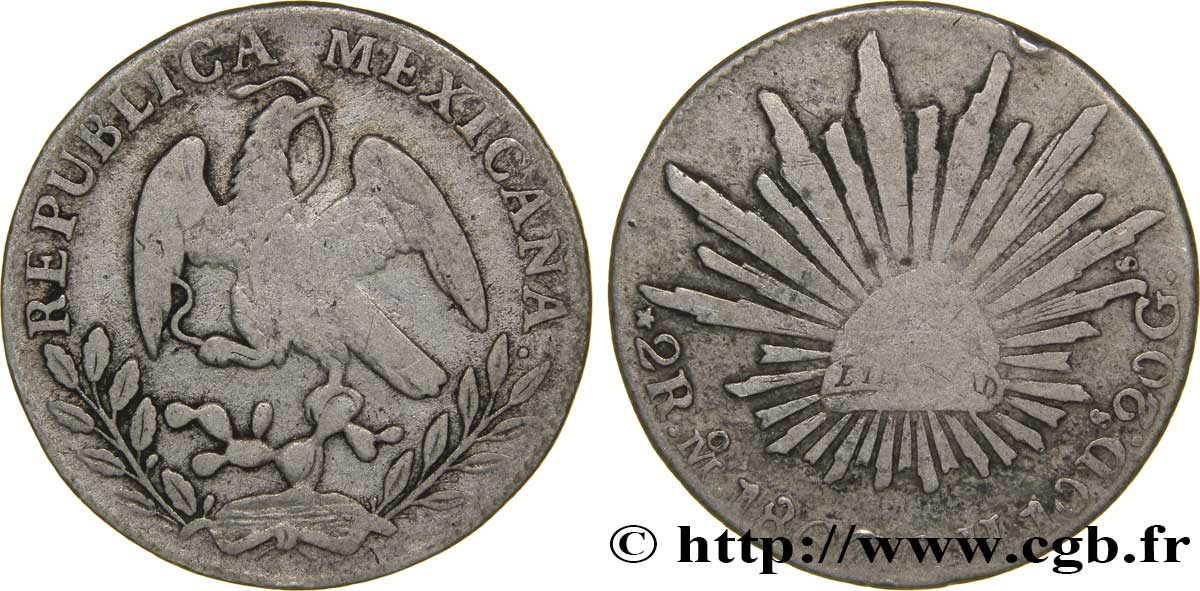 MEXIQUE 2 Real aigle 1867 Mexico TB