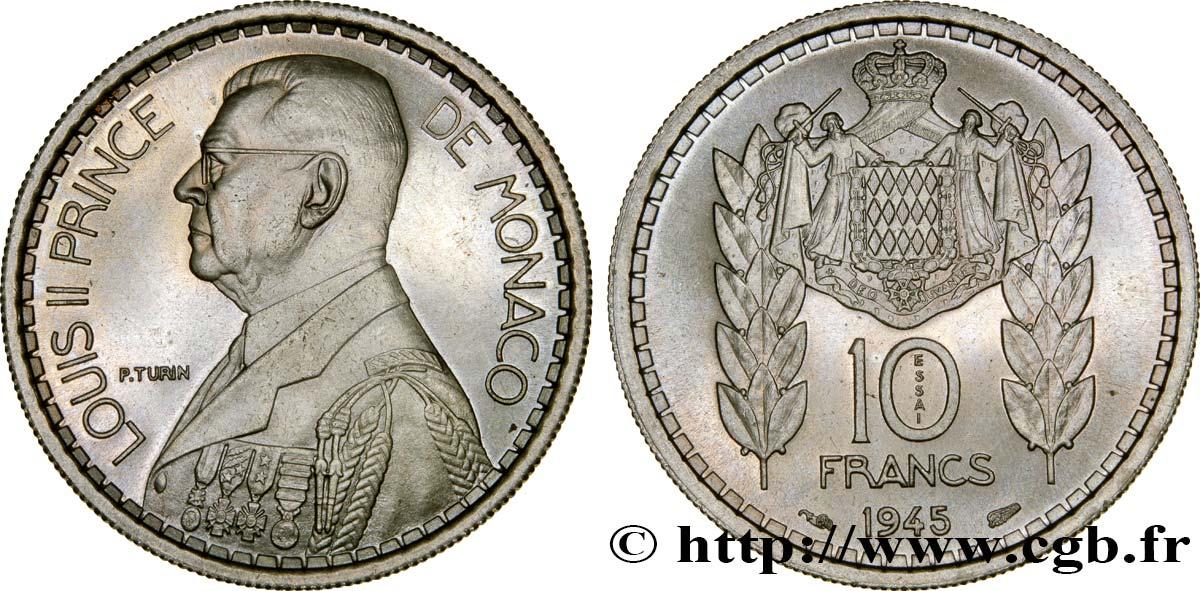 monaco essai de 10 francs turin louis ii 1945 paris ms fwo 326420 world coins. Black Bedroom Furniture Sets. Home Design Ideas