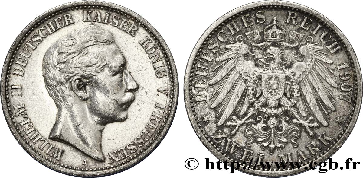 ALLEMAGNE - PRUSSE 2 Mark Royaume de Prusse : Guillaume II / aigle 1907 Berlin TTB