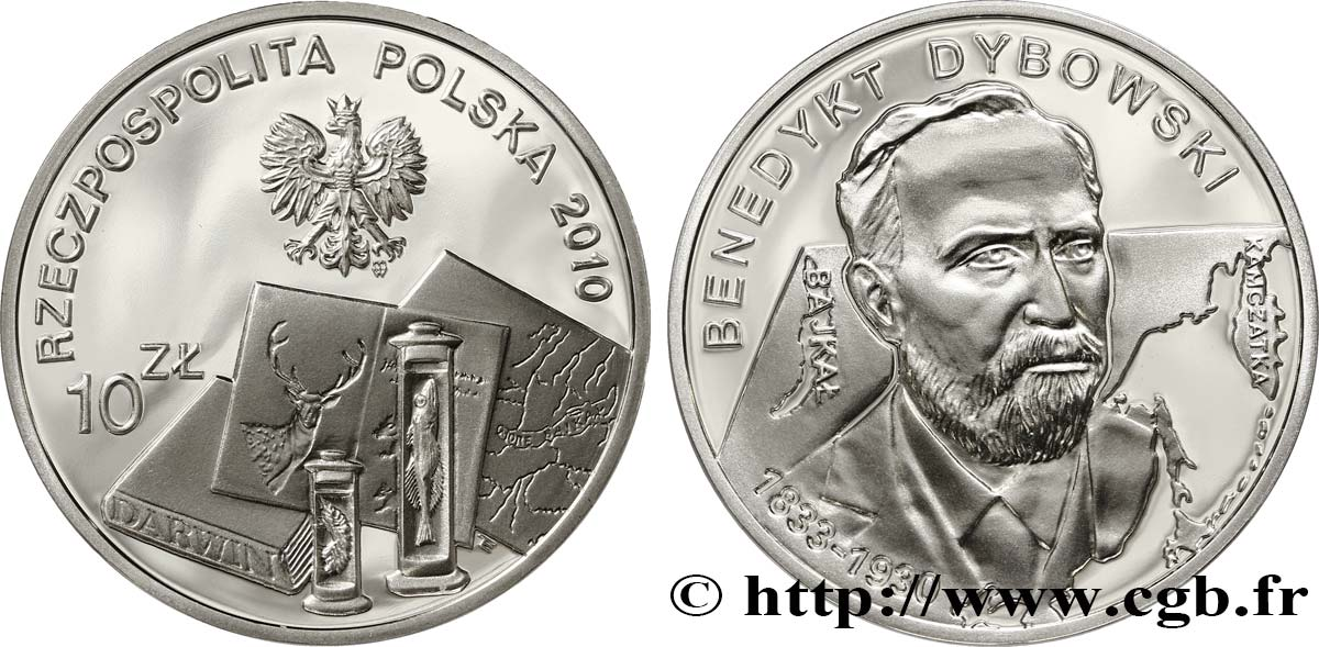 POLOGNE 10 Zlotych Le scientifique Benedykt Dybowski 2010  FDC