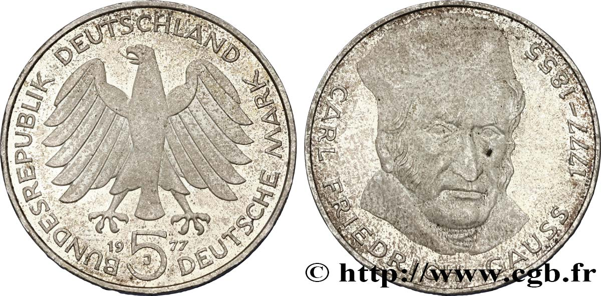 ALLEMAGNE 5 Mark Carl Friedrich Gauss 1977 Hambourg SUP