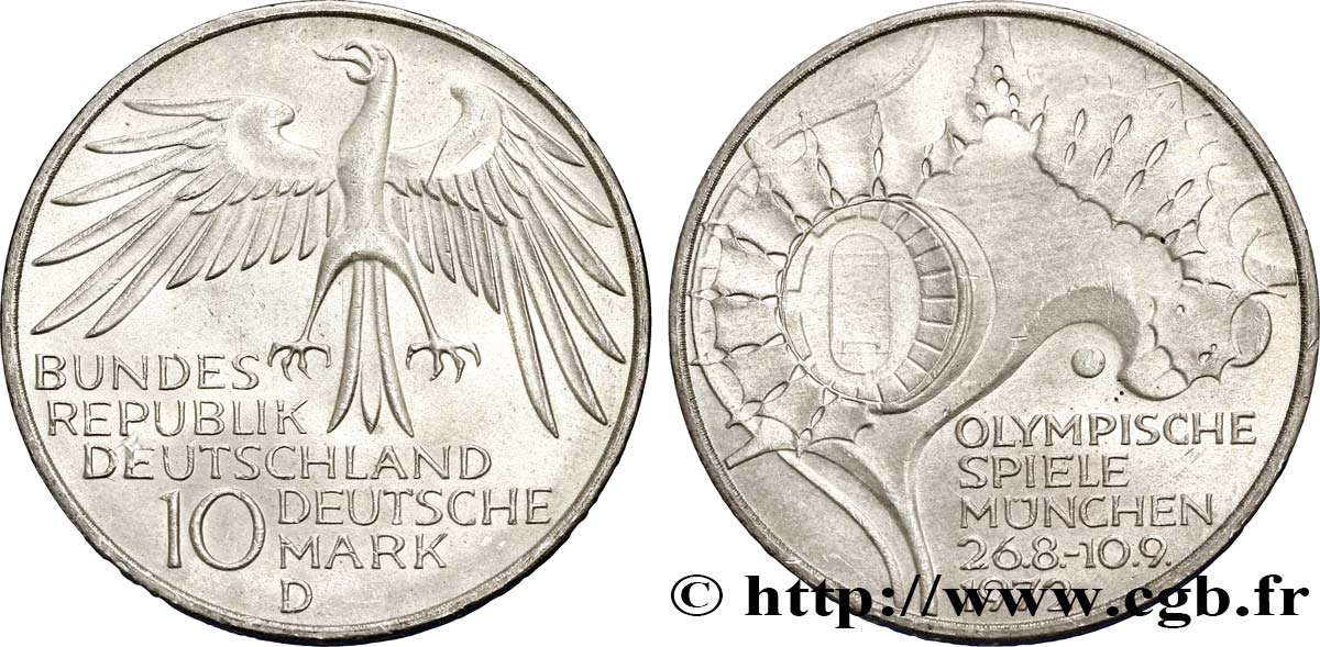 ALLEMAGNE 10 Mark / XXe J.O. Munich - Village olympique de Munich 1972 Munich SUP