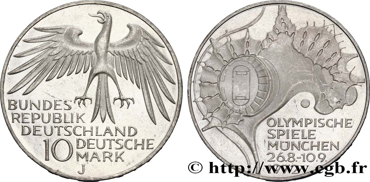 ALLEMAGNE 10 Mark / XXe J.O. Munich - Stade Olympique 1972 Hambourg - J SUP