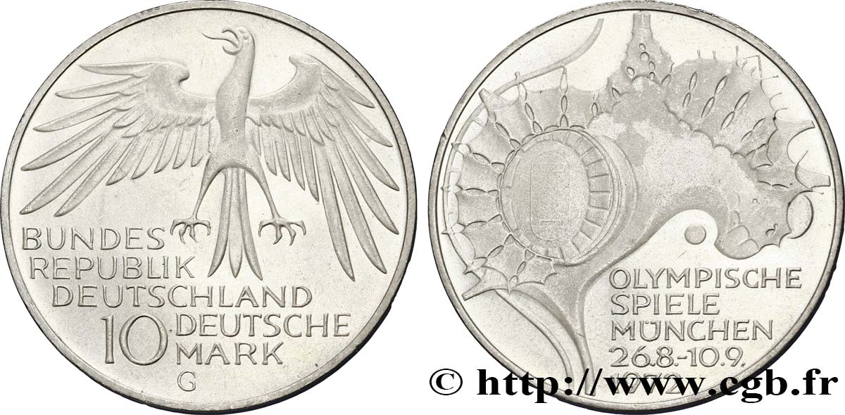 ALLEMAGNE 10 Mark / XXe J.O. Munich - Stade Olympique 1972 Karlsruhe - G SUP