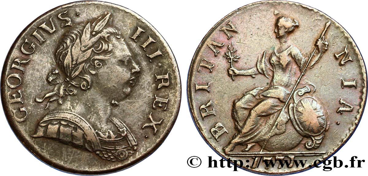 ROYAUME-UNI 1/2 Penny Georges III 1771 Londres TTB