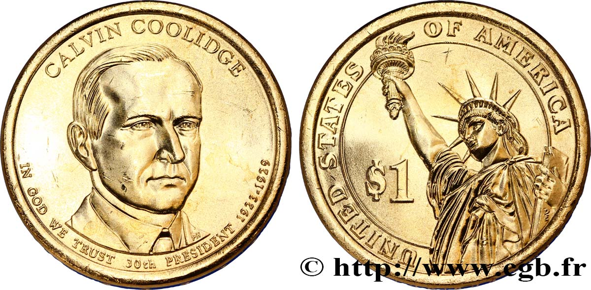 UNITED STATES OF AMERICA 1 Dollar Calvin Coolidge tranche B 2014 Denver MS