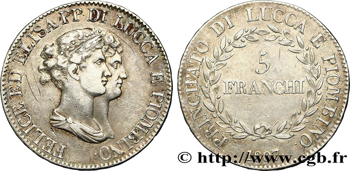 ITALIE - LUCQUES ET PIOMBINO 5 Franchi - Moyens bustes 1807 Florence TB+