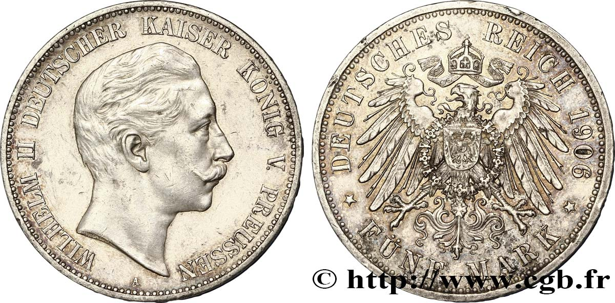 ALLEMAGNE - PRUSSE 5 Mark Guillaume II 1906 Berlin SUP