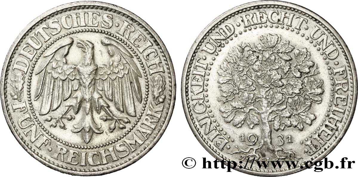 ALLEMAGNE 5 Reichsmark aigle 1931 Hambourg SUP