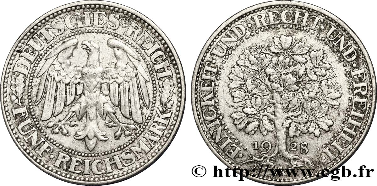 ALLEMAGNE 5 Reichsmark aigle 1928 Berlin SUP