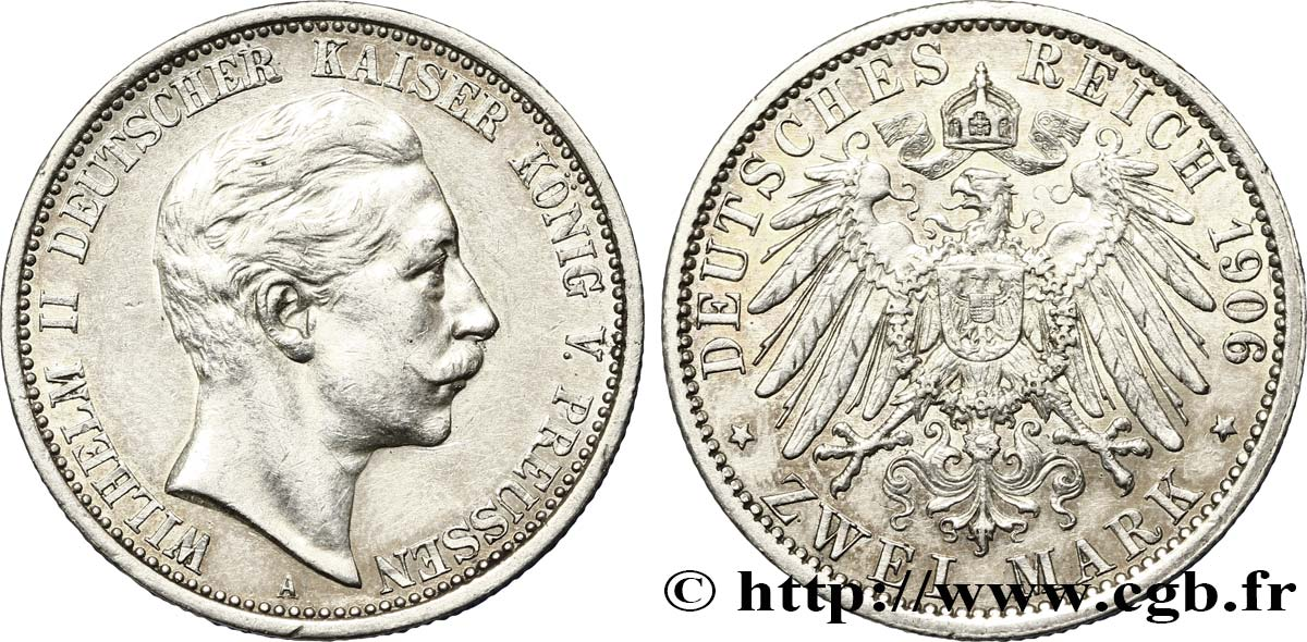 ALLEMAGNE - PRUSSE 2 Mark Guillaume II 1906 Berlin SUP