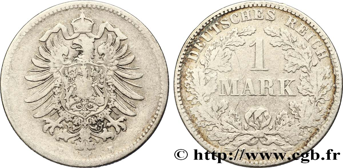 ALLEMAGNE 1 Mark Empire aigle impérial 1876 Darmstadt - H TB+