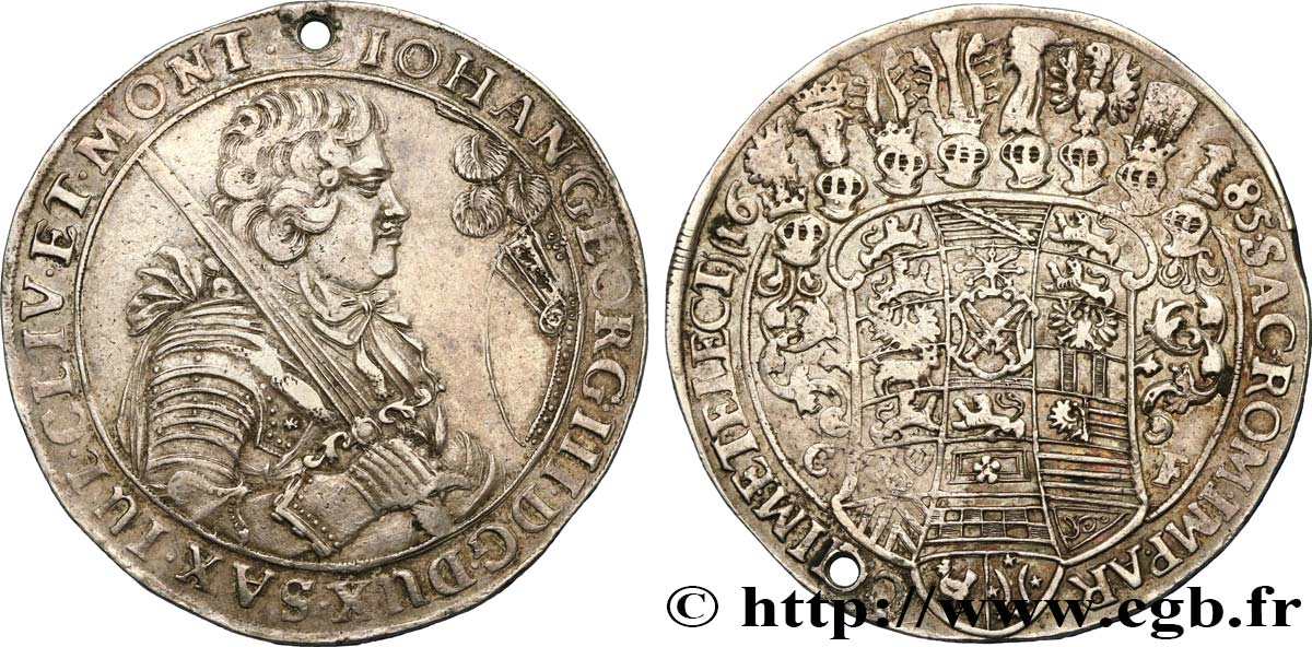 GERMANY - SAXE - DUCHY OF SAXE - JEAN-GEORGES Ier Thaler 1685 Dresde XF