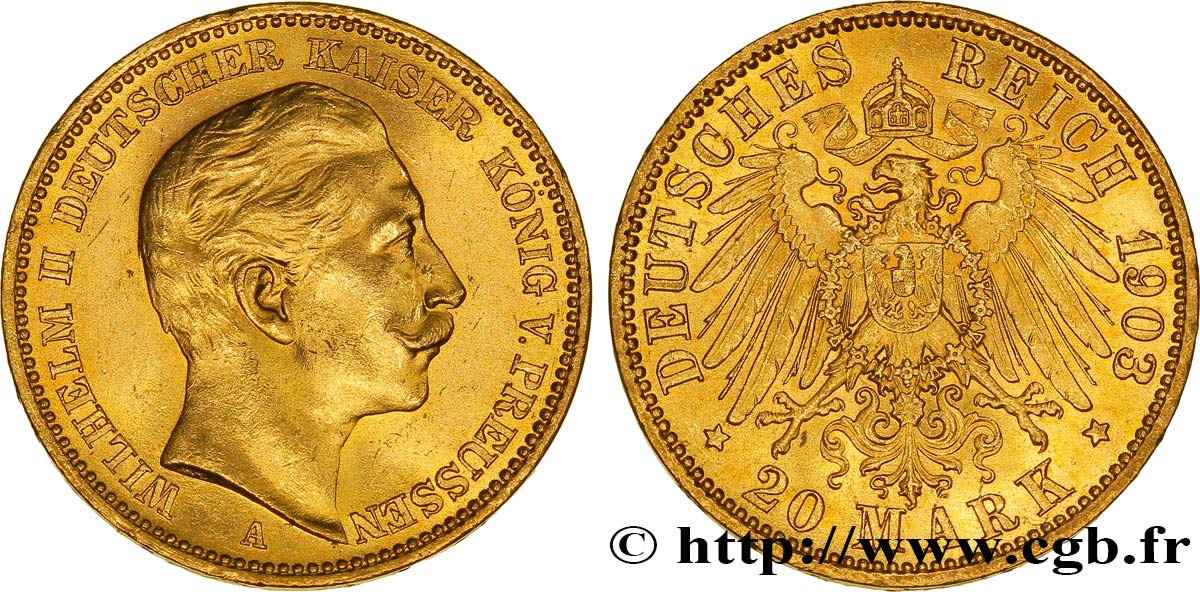 ALLEMAGNE - PRUSSE 20 Mark or, 2e type Guillaume II / aigle impérial 1903 Berlin SUP
