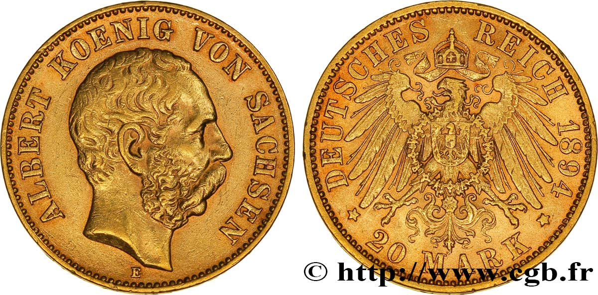 ALLEMAGNE - SAXE 20 Mark Albert 1894 Dresde SUP