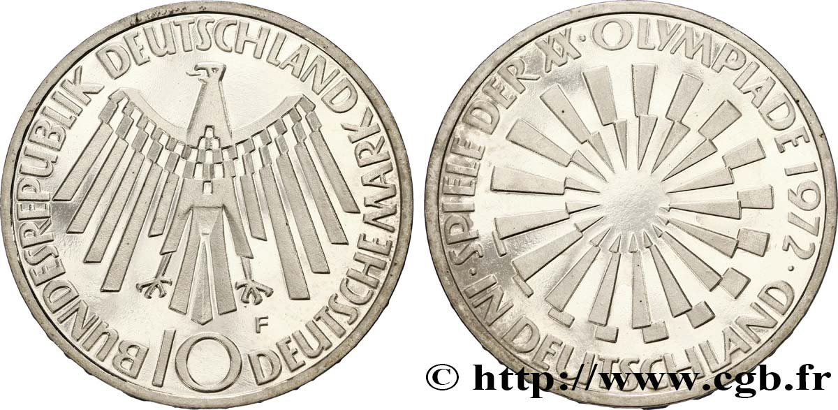"ALLEMAGNE 10 Mark BE (Proof) XXe J.O. Munich / aigle ""IN DEUTSCHLAND"" 1972 Stuttgart - F SPL"