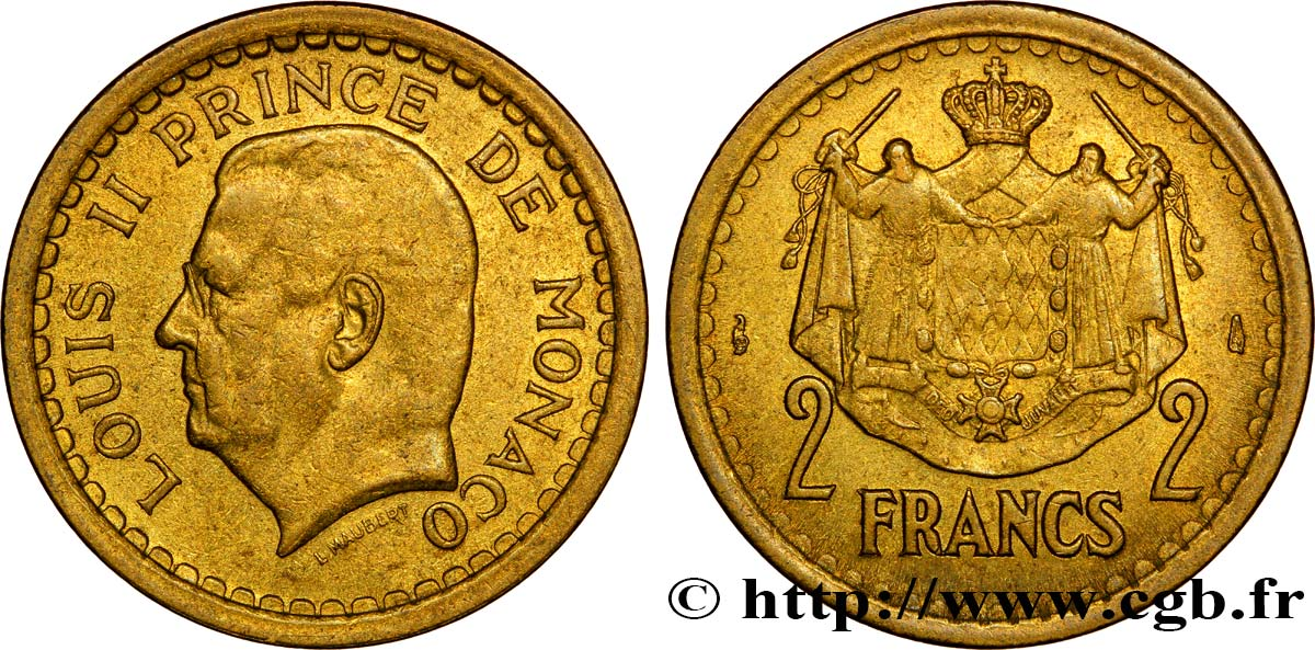 MONACO 2 Francs Louis II / armes (1943) Paris SUP