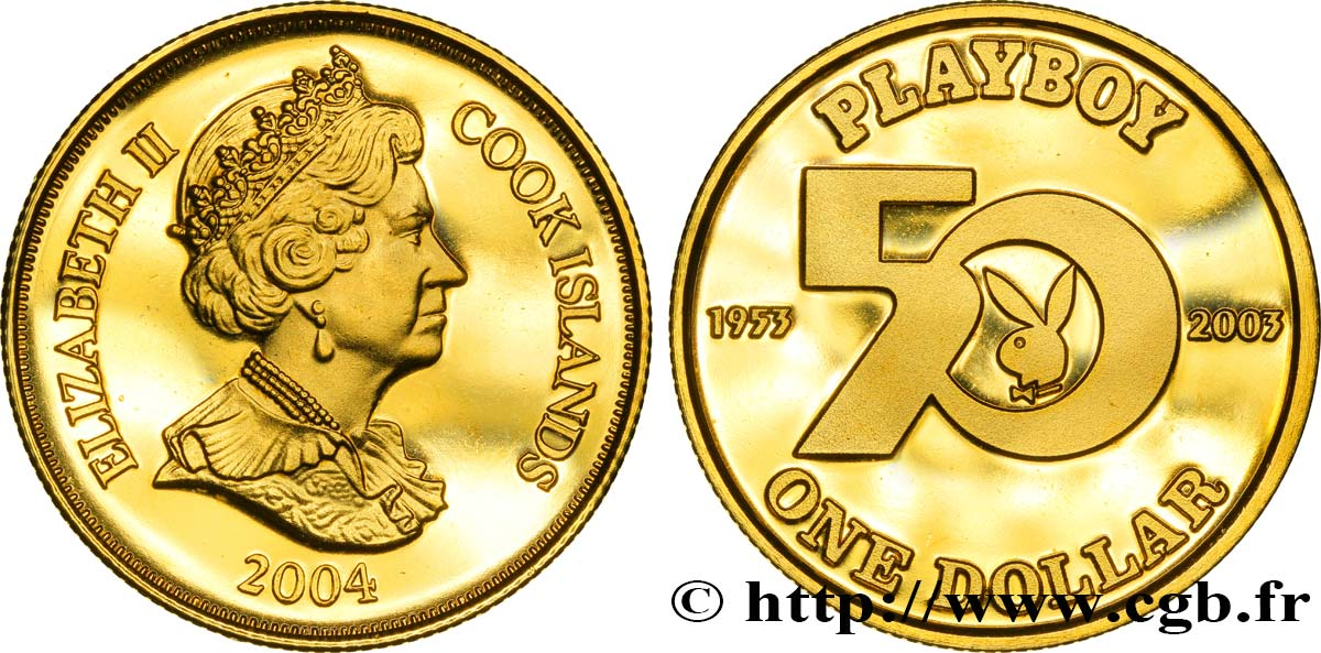 ÎLES COOK 1 Dollar Proof 50e anniversaire du magazine Playboy 2004  SPL