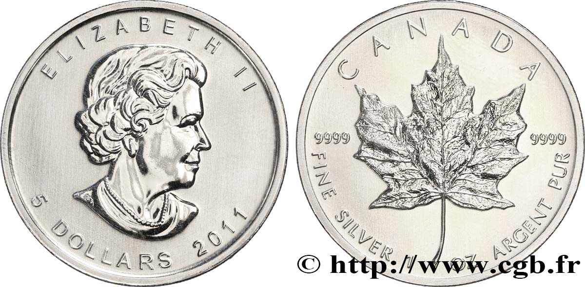 CANADA 5 Dollars (1 once) Proof feuille d'érable / Elisabeth II 2011  SPL