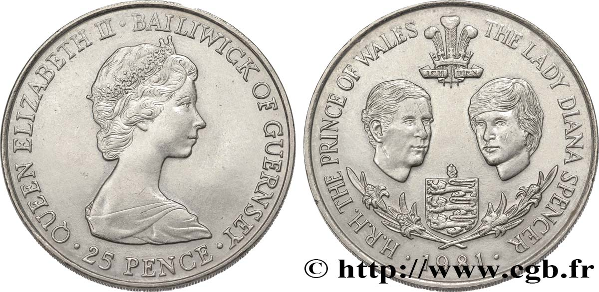 GUERNESEY 25 Pence Mariage Prince Charles et Lady Diana Spencer 1981  SUP