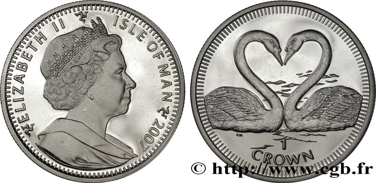ÎLE DE MAN 1 Crown Proof cygnes 2007  SPL