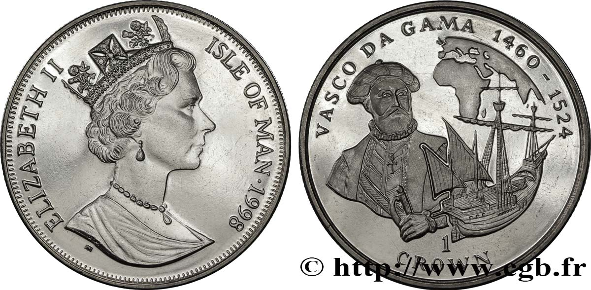 ÎLE DE MAN 1 Crown Proof Vasco de Gama 1998  SPL