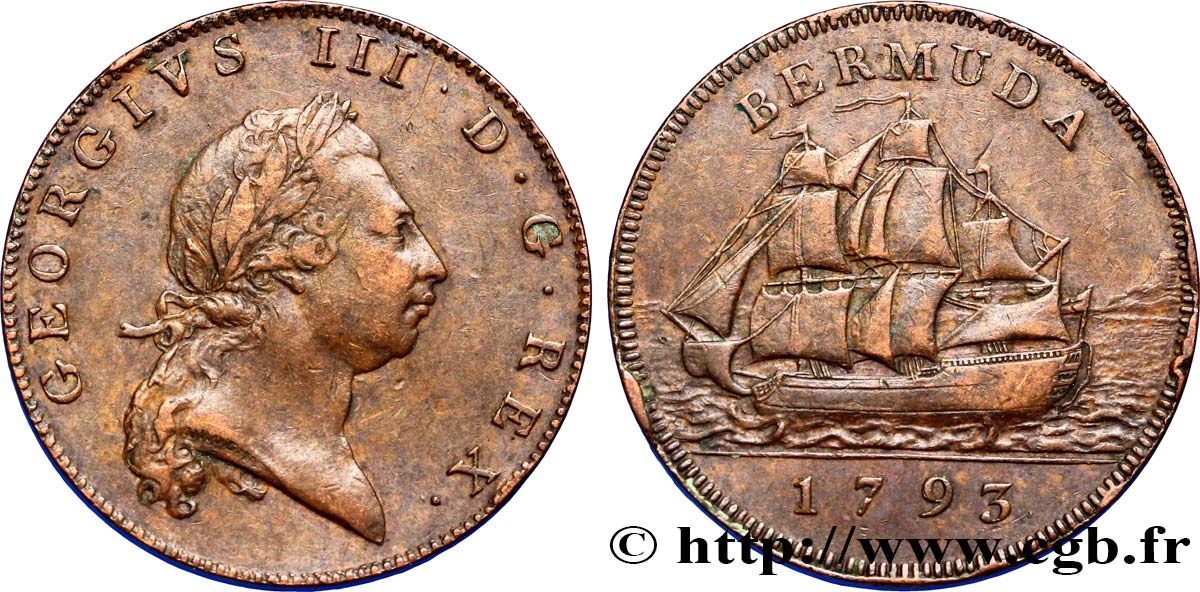 BERMUDES 1 Penny Georges III / voilier 1793  TTB