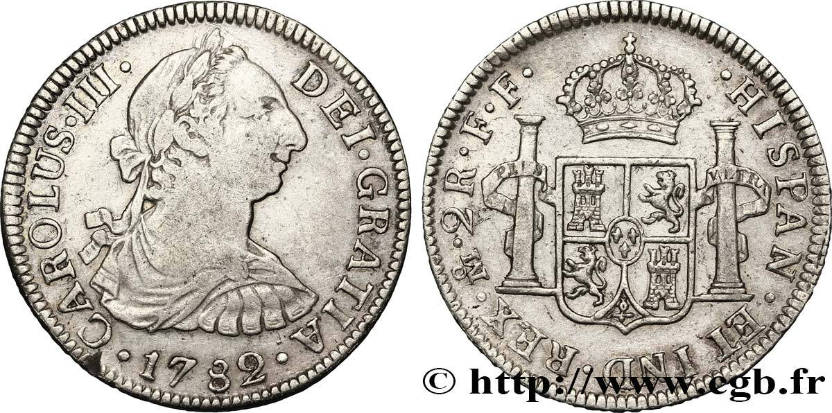 MEXIQUE 2 Reales Charles III d'Espagne 1782 Mexico TTB