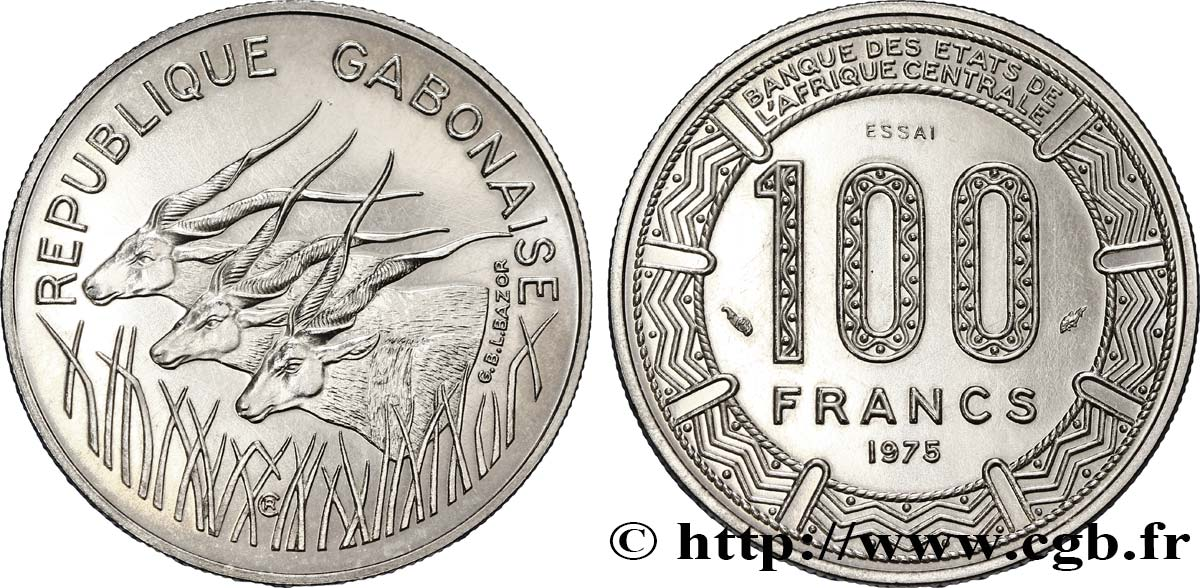 "GABON Essai de 100 Francs antilopes type ""BEAC"" 1975 Paris SPL"