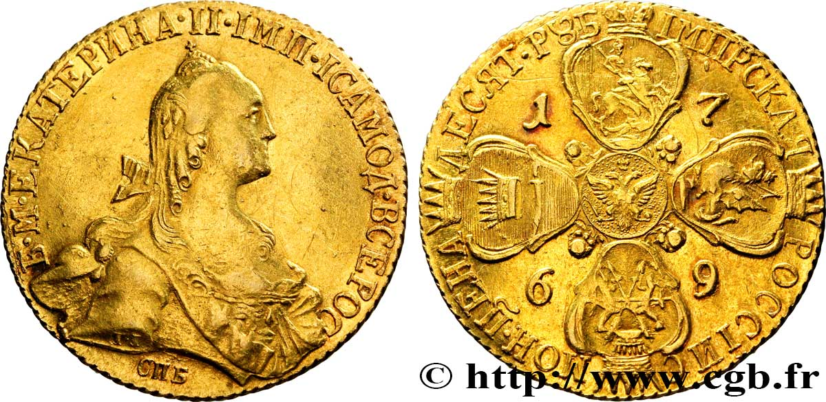 RUSSIE 10 Roubles Catherine II 1769 Saint-Petersbourg SUP+