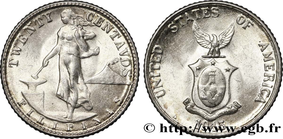 PHILIPPINES 20 Centavos - Administration Américaine 1945 Denver - D SPL