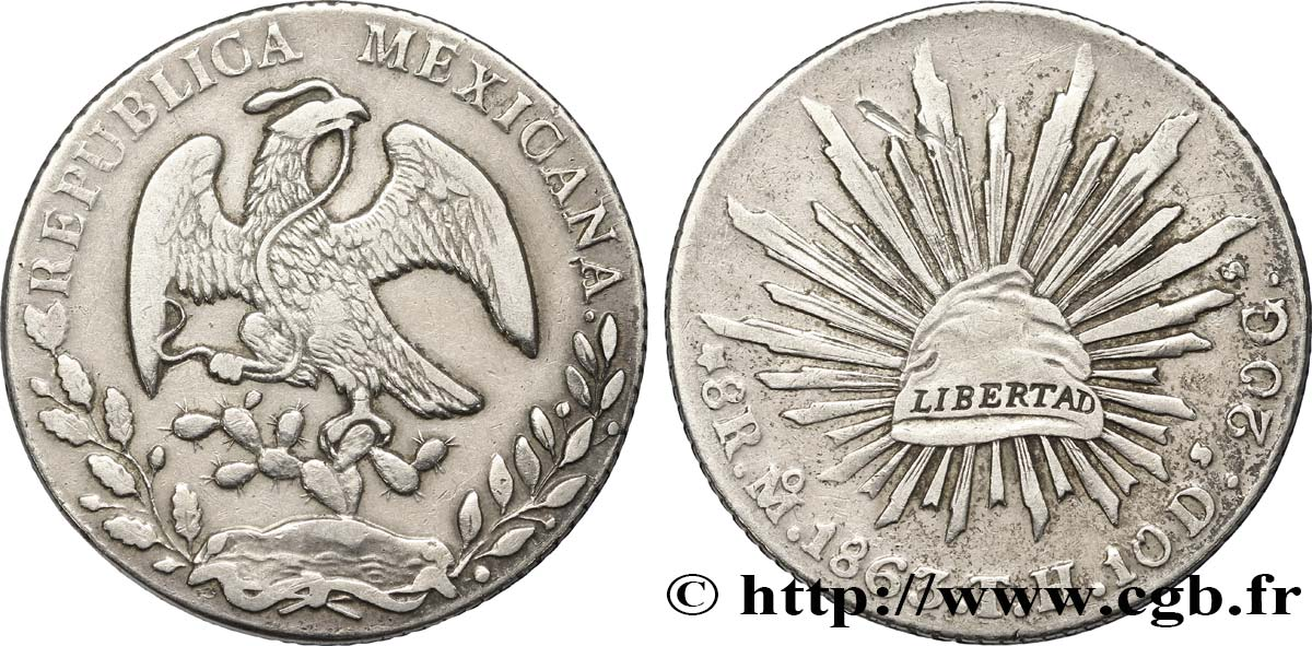MEXIQUE 8 Reales Aigle 1863 Mexico TB+