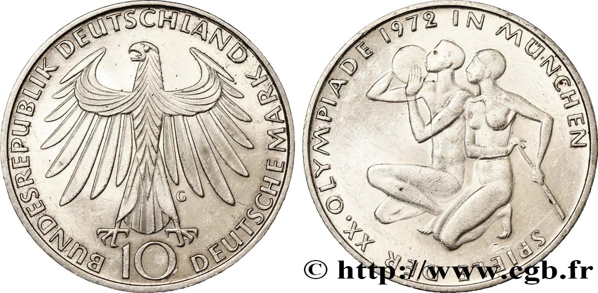 ALLEMAGNE 10 Mark XXe J.O. Munich : basket-ball et canoeing / aigle 1972 Karlsruhe - G SUP