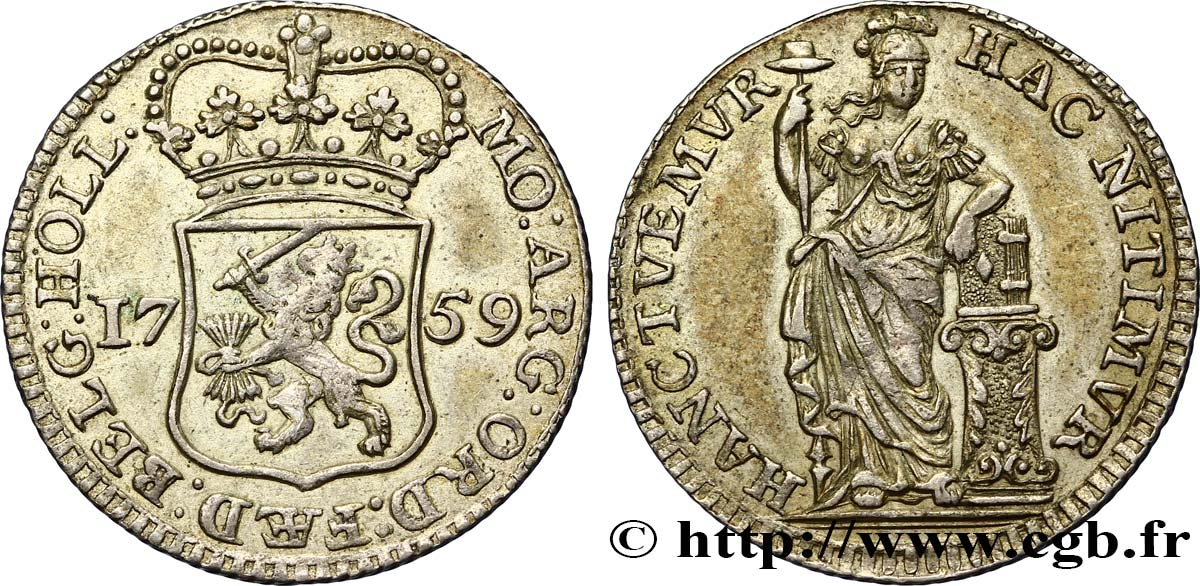PAYS-BAS - PROVINCES-UNIES 1/4 Gulden Hollande 1759  TTB+