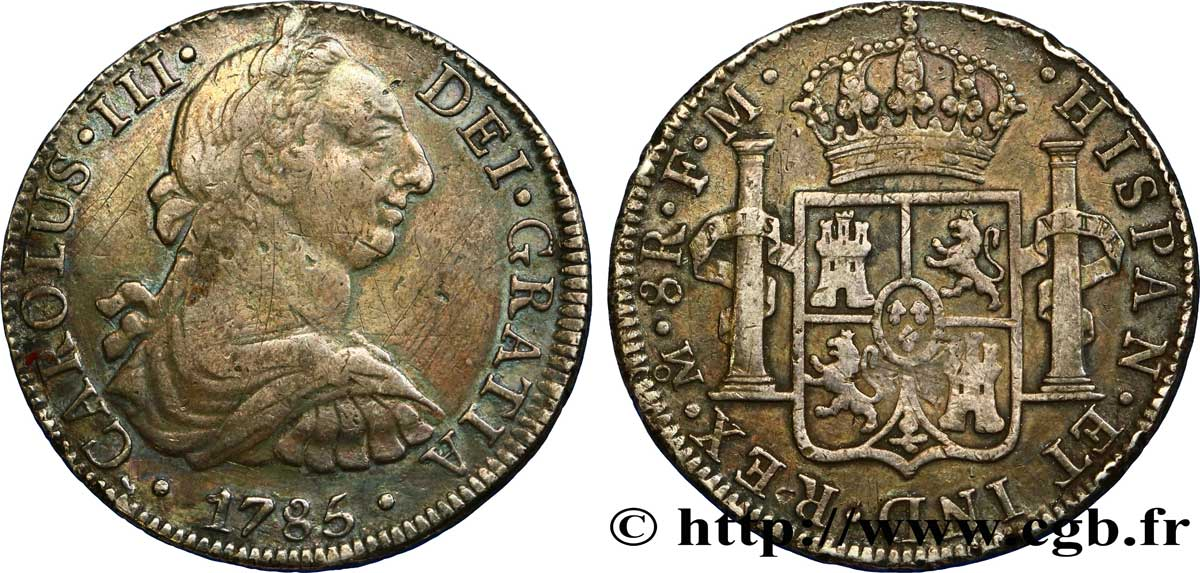 MEXIQUE 8 Reales Charles III d'Espagne 1785 Mexico TB+