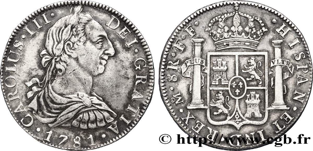 MEXIQUE 8 Reales Charles III d'Espagne 1781 Mexico TTB