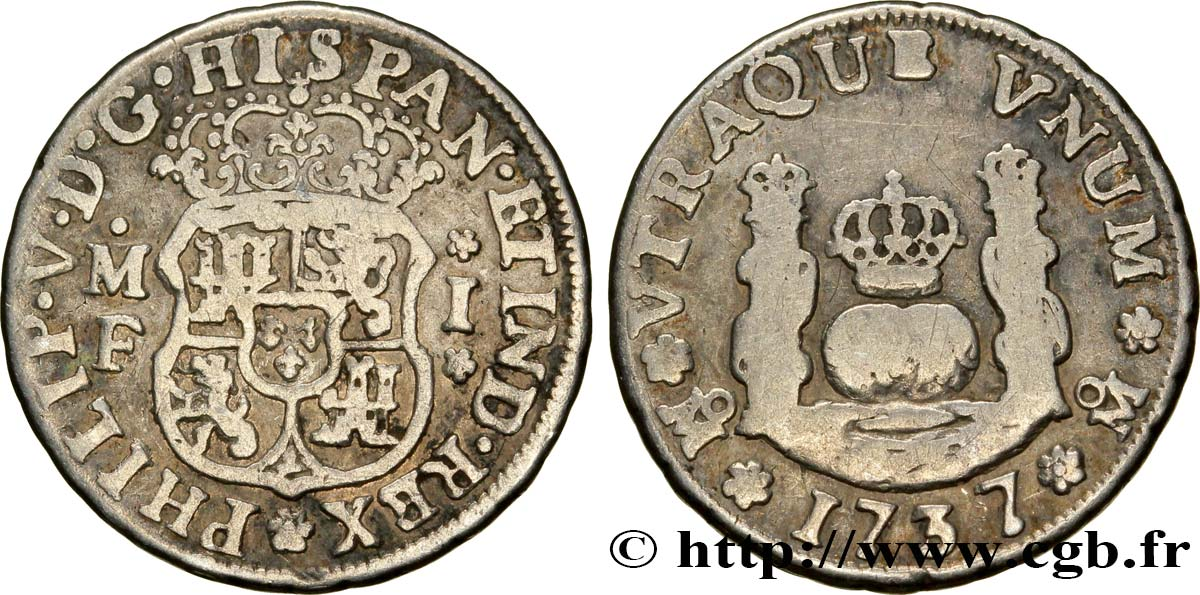MEXIQUE 1 Real au nom de Philippe V 1737 Mexico TB+