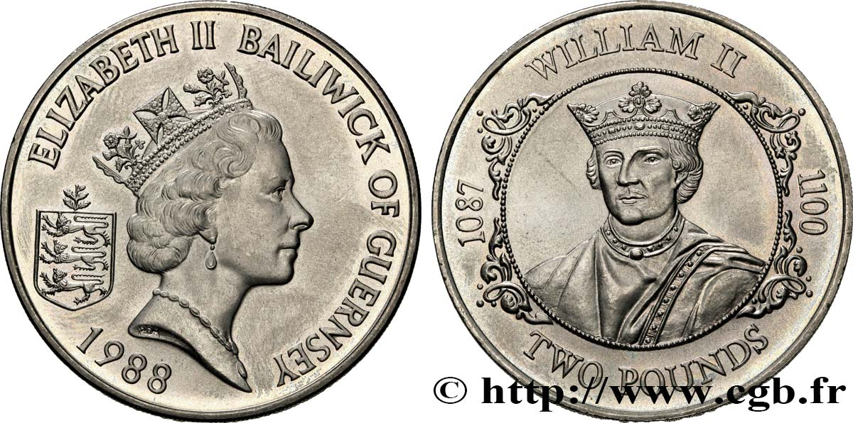 GUERNESEY 2 Pounds (Livres) Guillaume II 1988  SPL