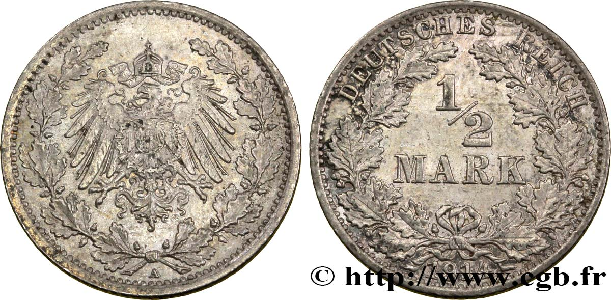 ALLEMAGNE 1/2 Mark Empire aigle impérial 1914 Berlin SUP