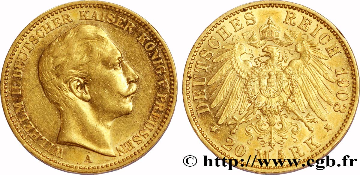 ALLEMAGNE - PRUSSE 20 Mark or, 2e type Guillaume II 1903 Berlin TTB+