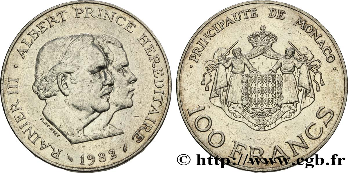 MONACO 100 Francs Rainier III et Albert 1982 Paris TTB