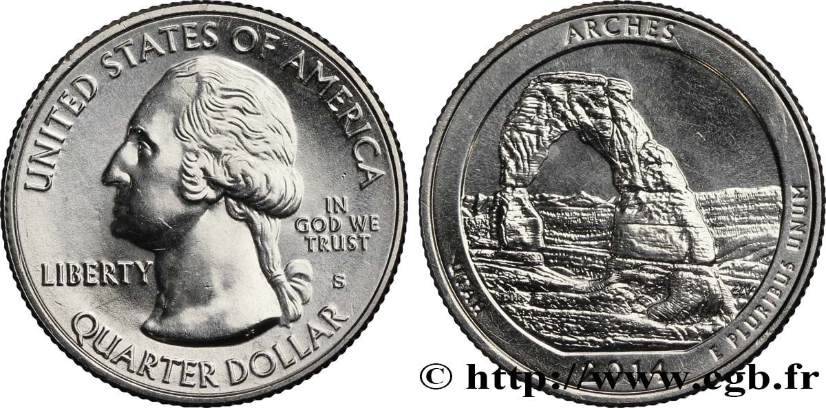 UNITED STATES OF AMERICA 1/4 Dollar Parc national des Arches Utah 2014 San Francisco MS