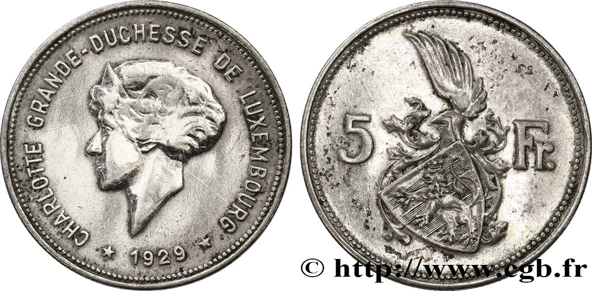LUXEMBOURG 5 Francs Grande-Duchesse Charlotte 1929  TTB