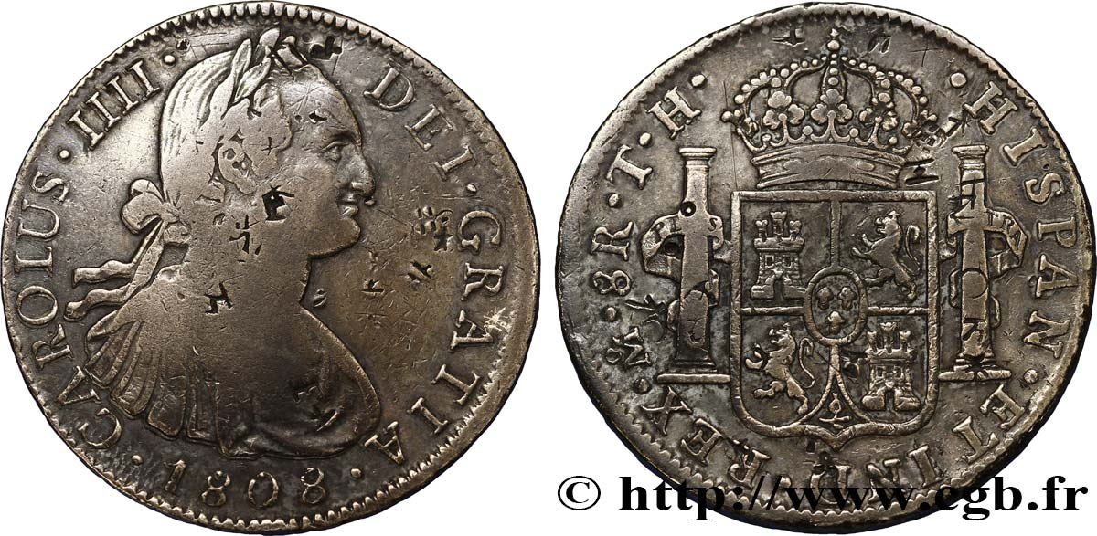 MEXIQUE 8 Reales Charles IIII d'Espagne avec contremarques chinoises 1808 Mexico TB+