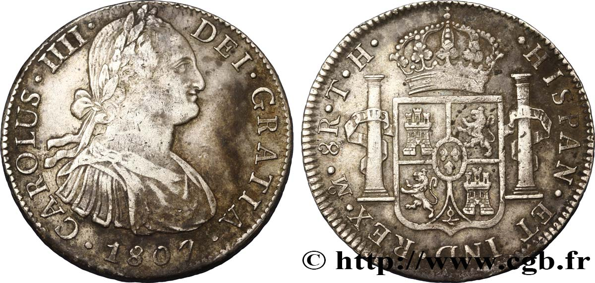 MEXIQUE 8 Reales Charles IIII d'Espagne 1807 Mexico TTB