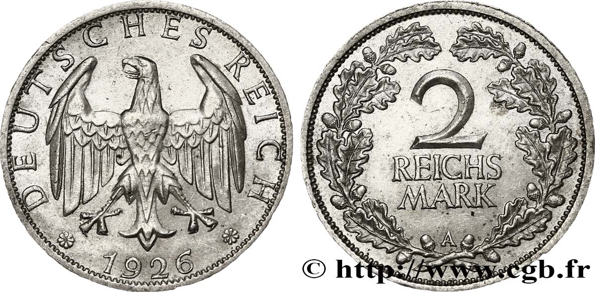 ALLEMAGNE 2 Reichsmark aigle 1926 Berlin SUP