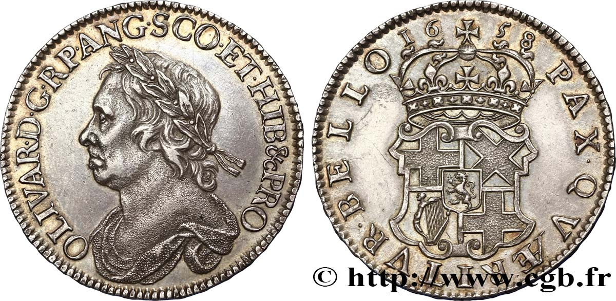 GRANDE-BRETAGNE - OLIVER CROMWELL Demi couronne ou halfcrown 1658 Londres SUP