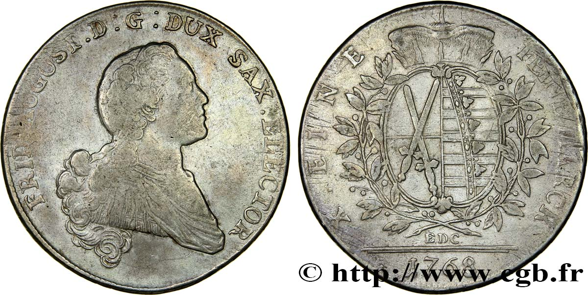 ALLEMAGNE - SAXE Thaler Frédéric-Auguste III 1768 Dresde TB+
